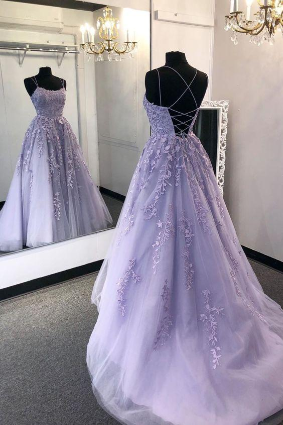 Backless Purple Lace Prom Dresses, Open Back Purple Lace Formal .