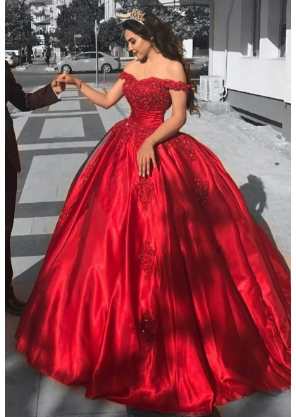 Ball Gown Off The Shoulder Red Satin Prom Dress