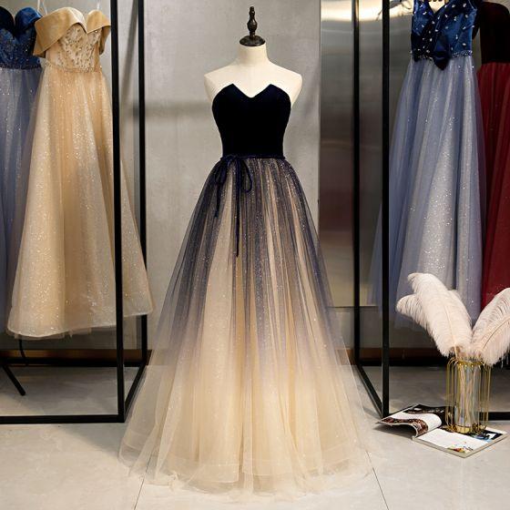 Classy Champagne Prom Dresses 2020 A-Line / Princess Glitter .