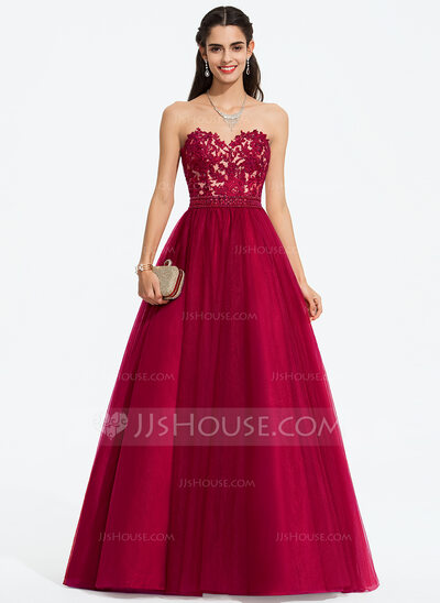 Ball-Gown/Princess Sweetheart Sweep Train Tulle Prom Dresses With .
