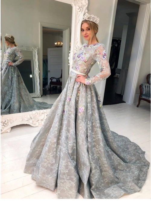 A-Line Crew Long Sleeves Sweep Train Grey Lace Prom Dress with .