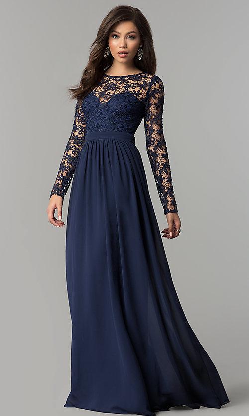 Chiffon and Lace Long-Sleeve Prom Dress- PromGi
