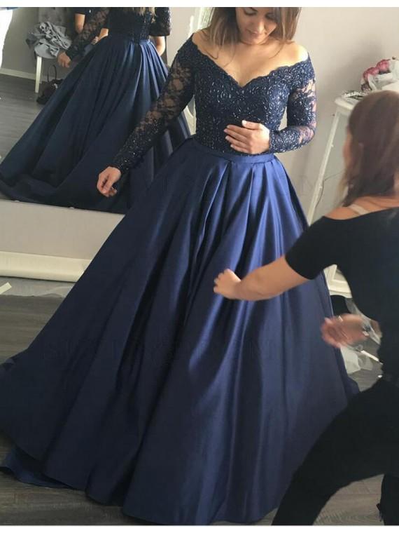 Buy Stylish Off the Shoulder Long Beading Long Navy Blue Prom .
