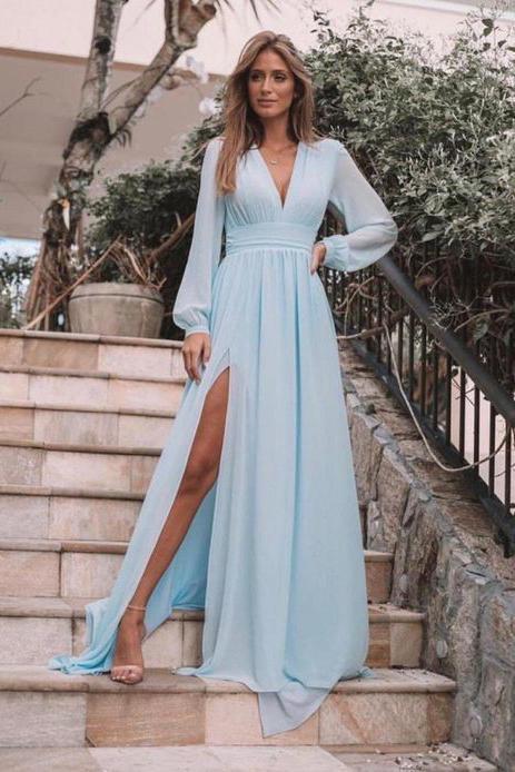 Light Blue Long Sleeves V Neck Chiffon Prom Dress, Elegant Split .