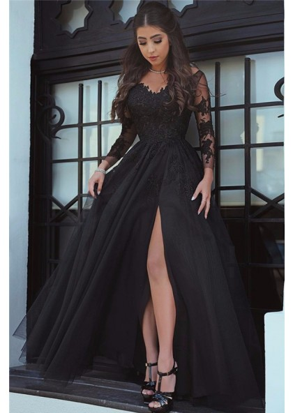 2020 Cheap Princess/A-Line Black Long Sleeves Tulle Prom Dress