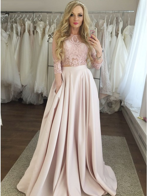 Two Piece Crew 3/4 Sleeves Floor-Length Pink Prom Dress with Lace .