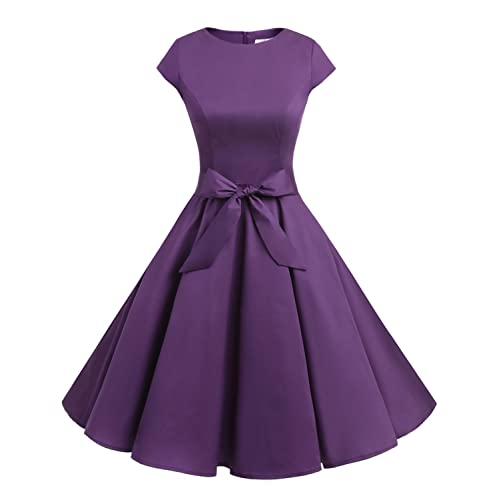 Vintage Retro Purple Dress: Amazon.c