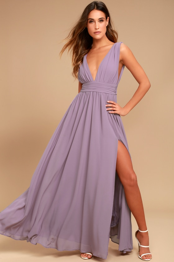 Dusty Purple Gown - Maxi Dress - Sleeveless Maxi Dress - $84.