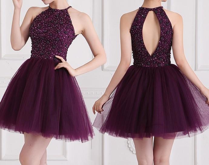 Sexy Prom Dress, Short Prom Dress, Purple   fancygirldre