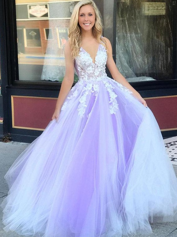 Buy Charming A Line V Neck Light Purple Long Prom Dresses with .