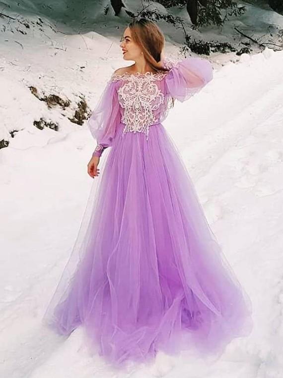 Buy Gorgeous A Line Purple Long Prom Dresses with Appliques Long .