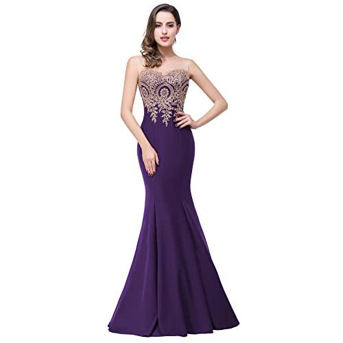 Dark Purple Prom Dress Long: Amazon.c