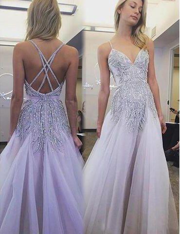 Prom Dresses,Spaghetti Prom Dress,Light Purple Prom Dresses,Beaded .