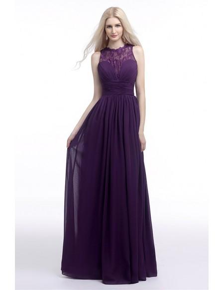 Flowy Chiffon Purple Prom Dress Long With Lace Sheer Top 2018 .