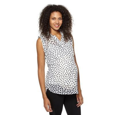 Red Herring Maternity Ivory heart print maternity blouse- at .