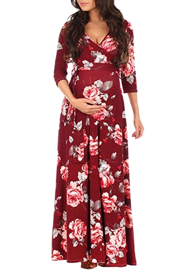 V Neck 3/4 Sleeve Tie Floral Print Wrap Maxi Maternity Dress Dark .
