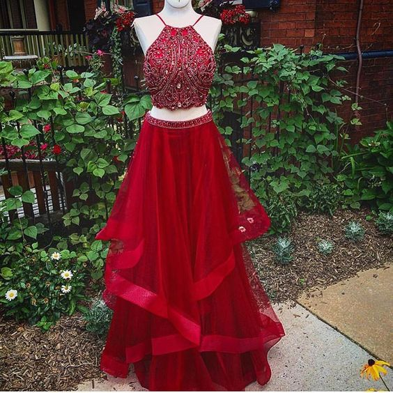 Red prom dress, two pieces prom dress, pretty prom dress, halter .