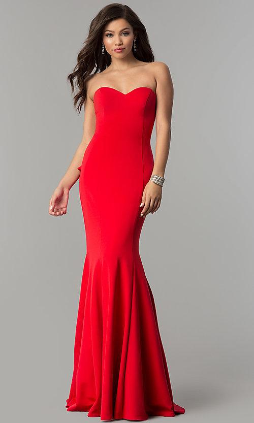 JVNX by Jovani Strapless Red Prom Dress - PromGi