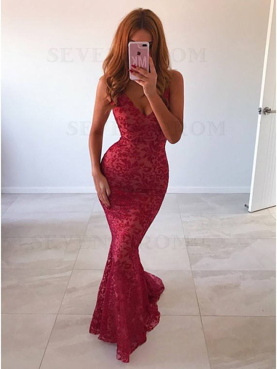 Buy Mermaid Spaghetti Straps Backless Sweep Train Dark Red Lace .