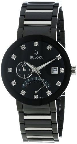 Relógio Bulova Men's 98D109 Diamond Accented Black Dial Bracelet .