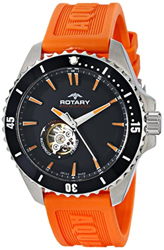 Rotary Men's Automatic Watch with Black Dial Analogue Display and .