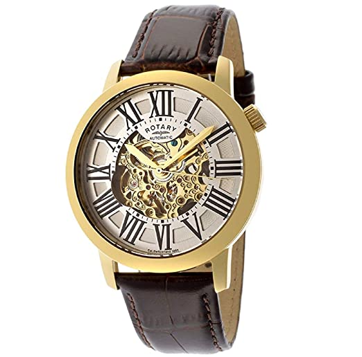 Rotary Mens Skeleton Automatic Watch with Leather Strap GLE000013 .