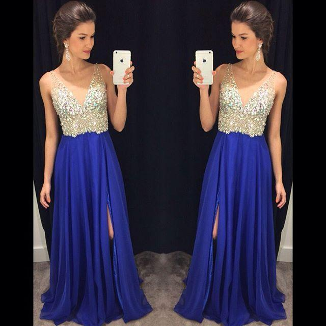 Royal Blue Prom Dresses,Royal Blue Prom Dress,Silver Beaded Formal .