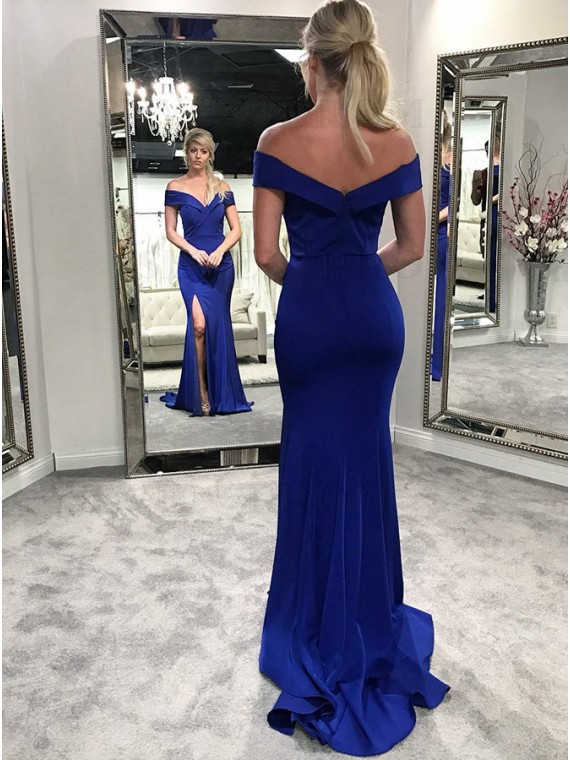 Buy Mermaid Off-the-Shoulder Long Royal Blue Prom Dress with Split .