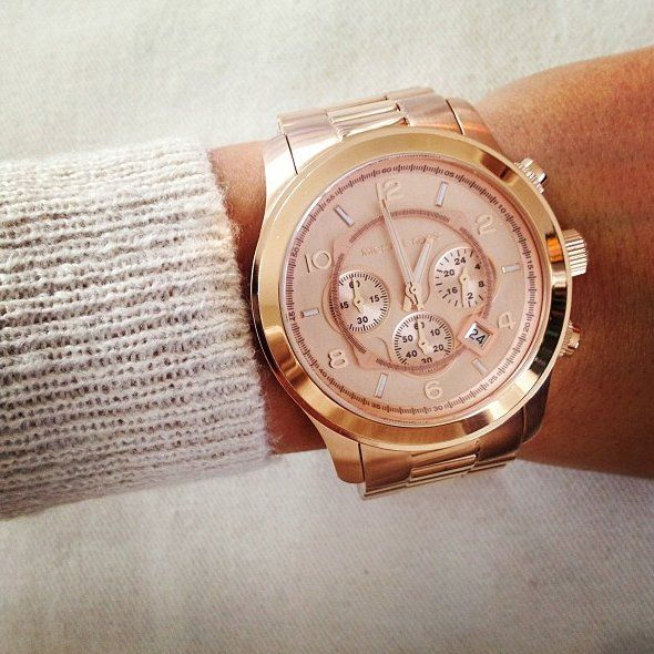 """Micheal Kors """"Runway"""" oversized watch in Rose Gold. He tends to ."""