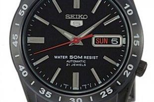Seiko SNKE03K1 5 Automatic 21 Jewels WR 50m Men's Black Ion Sports .