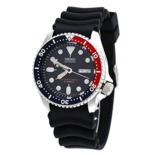 Seiko Divers Automatic Black Blue Dial Black Rubber Mens Watch .