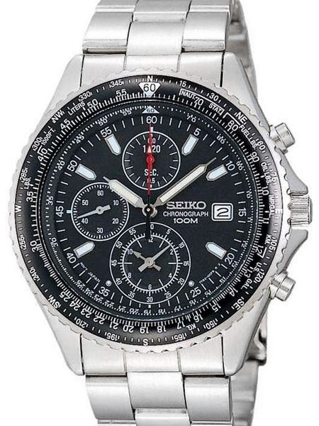 Seiko Flightmaster Quartz Chronograph with Stop-Watch, slide-rule .