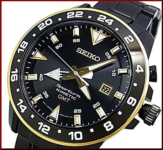 BRIGHT: SEIKO/Sportura mens watch kinetic GMT black / gold letter .