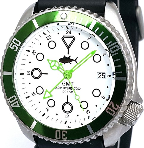 GMT Quartz Hybrid 7002 Seiko Diver Custom Modded Watch .