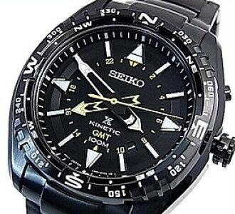 BRIGHT: SEIKO/PROSPEX kinetic GMT mens watch black letter Edition .