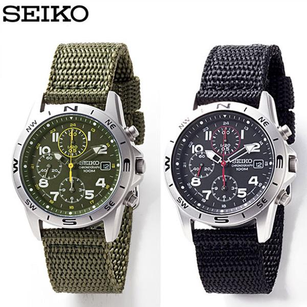 wide: SEIKO military watch chronograph watch men khaki black .