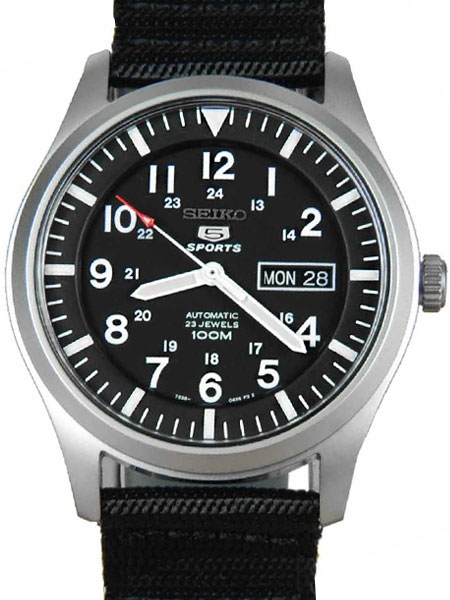 Seiko Military Black Dial Automatic Watch with 42mm Case, Black .