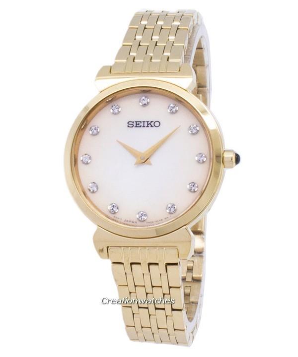 Seiko Quartz SFQ802 SFQ802P1 SFQ802P Diamond Accents Women's Wat