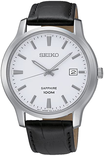 Amazon.com: Seiko Quartz Sapphire Silver Tone Dial Leather Band .