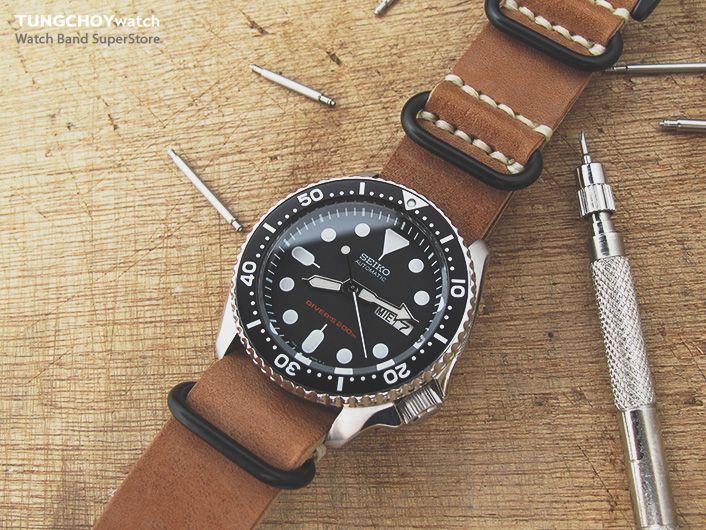 MiLTAT G10 Grezzo Zulu watch strap Saddle Brown BK on Seiko SKX007 .