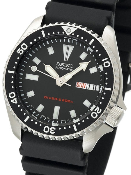 Seiko Black 21-Jewel Automatic Dive Watch with Rubber Strap #SKX1