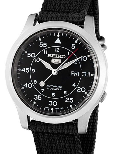 Seiko 5 Military Black Dial Automatic Watch with Back Canvas Strap .