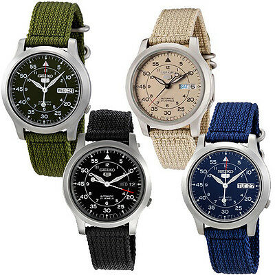 Seiko 5 MILITARY NEW Automatic Day Date Watch SNK803 SNK805 SNK807 .