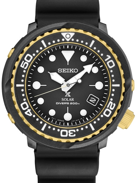 Seiko Prospex Solar Powered Black Dive Watch with Case Shroud #SNE4