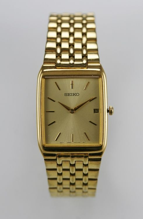 Seiko Watch Mens Champagne Date Gold Stainless Steel Water Resist .