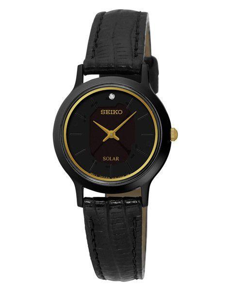 Seiko Womens Solar Single Diamond Leather Strap Watch - Black .