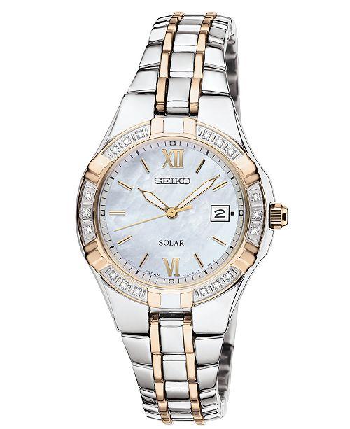Seiko Watch, Women's Solar Diamond Accent Two Tone Stainless Steel .