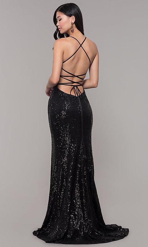 Sparkly Sequin V-Neck Long Formal Prom Dress -PromGi