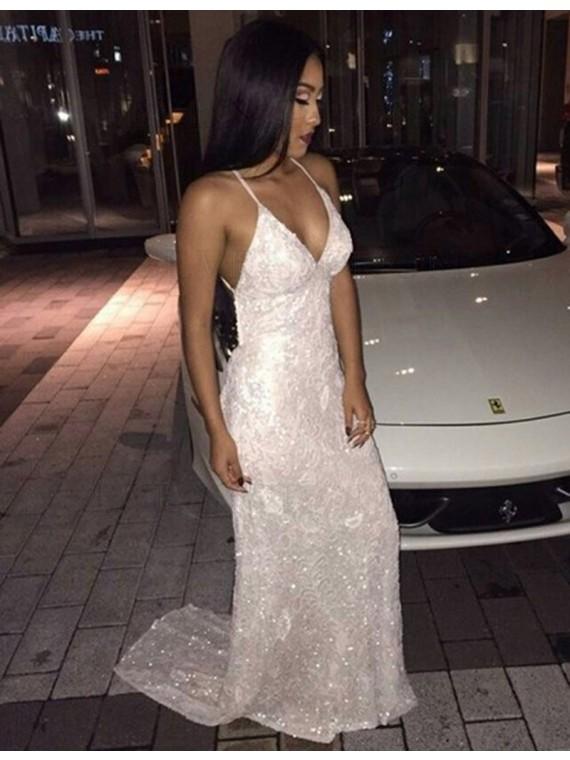 Buy Gorgeous V Neck Long Sheath Backless White Sequins Prom Dress .
