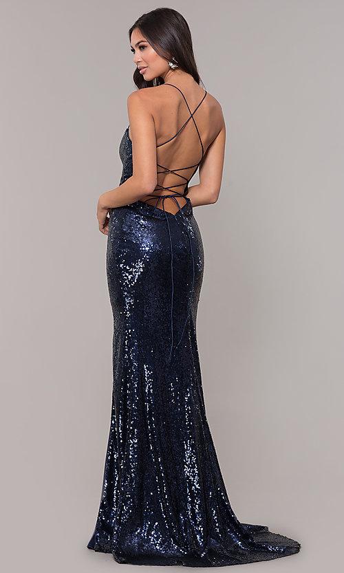 Long Square-Neck Sequin Corset Prom Dress - PromGi